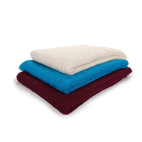 Cashmere Republic Cashmere and Bamboo Cable Yacht Throw with Rib Edges