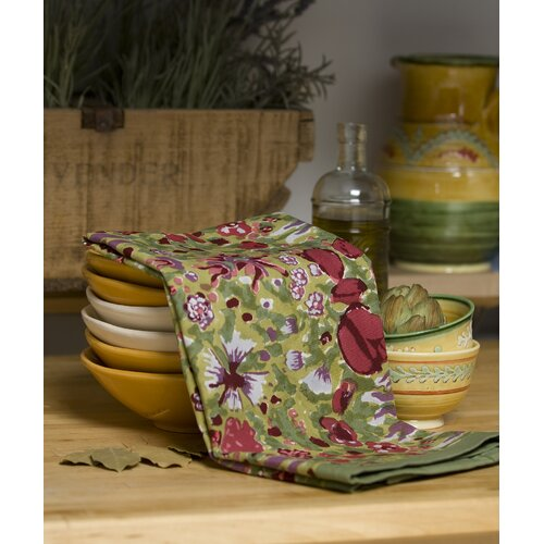 Couleur Nature Jardine Red Green Tea Towel (Set 0f 3)