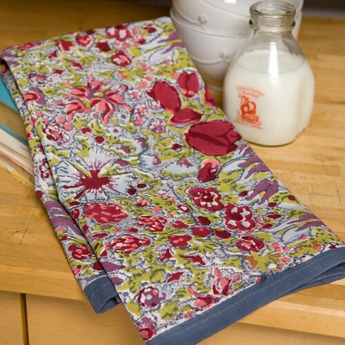 Couleur Nature Jardine Red Grey Tea Towel