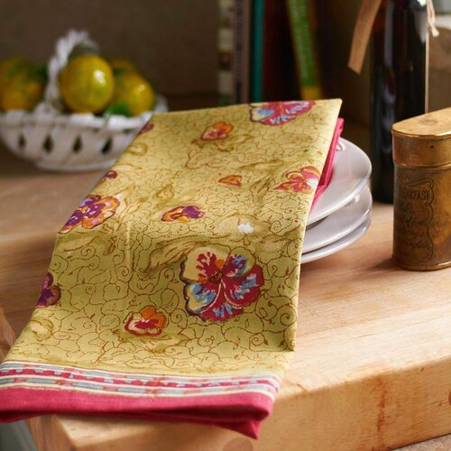 Pansy Red Green Tea Towel (Set of 3)
