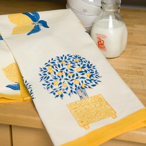 Couleur Nature Lemon Tree Blue Yellow Tea Towel