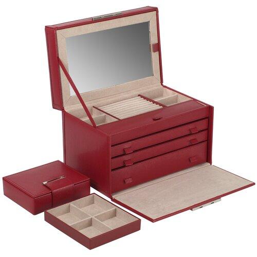 Wolf Designs. Queens Court Large Jewelry Case in Crimson