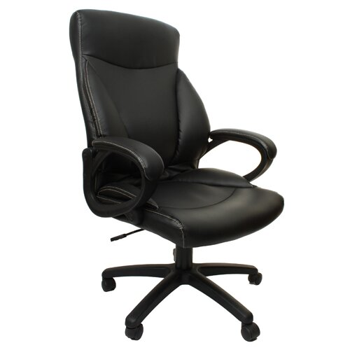 Merax Leather Back Bonded Office Chair with Curved and Padded Arms