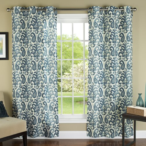 m.style Ikat Plume Poly Linen Textured Cloth Grommet Curtain Panel