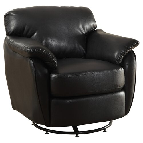 Monarch Specialties Inc. Leather-Look Swivel Lounge Chair