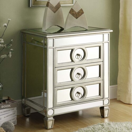 Mirrored 3 Drawer Accent Table