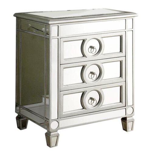 Mirrored Accent Table: Monarch Specialties Inc. Mirrored 3 Drawer Accent Chest