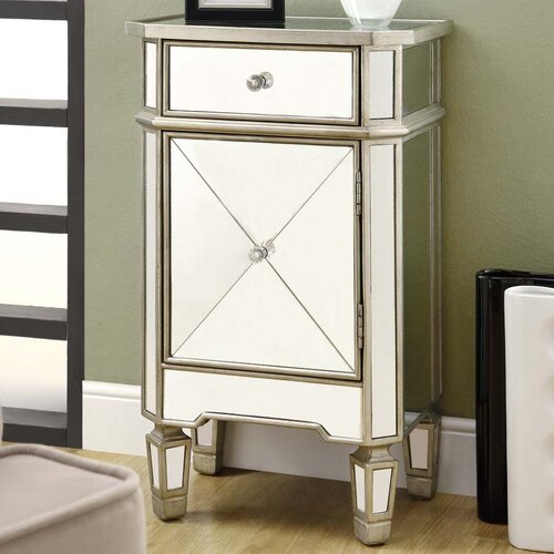 Monarch Specialties Inc. Mirrored 1 Drawer Accent Cabinet