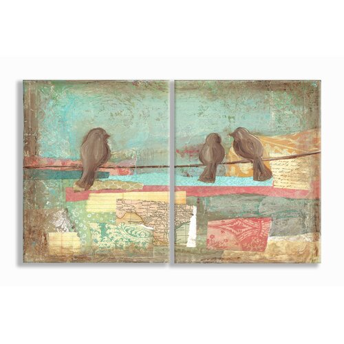 Home Décor Birds on Wires Pastel Style Oversized Duo 2 Piece Graphic Art Plaque Set ...