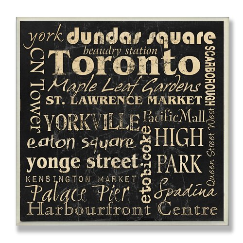 Home Décor Toronto Landmark Square Textual Art Plaque