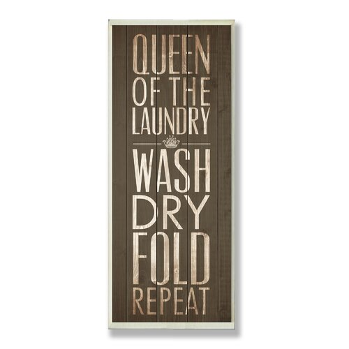 Home Décor Queen of Laundry Typography Bath Textual Art Plaque