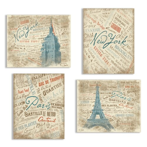 Home Décor Paris and NYC Typography and Scenes 4 Piece Graphic Art on Canvas Set ...