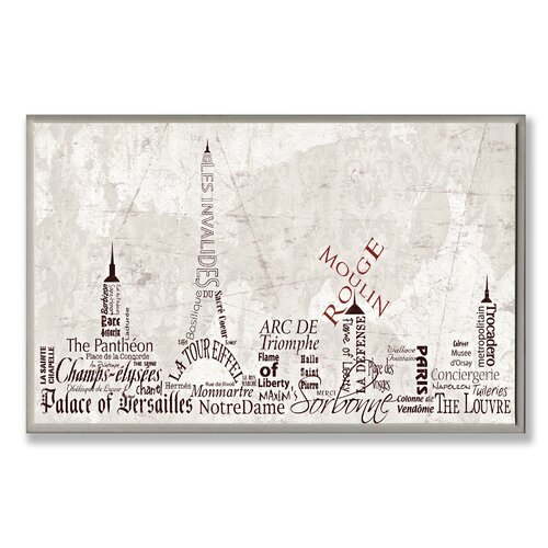 Home Décor Paris Skyline Typography Textual Art Plaque