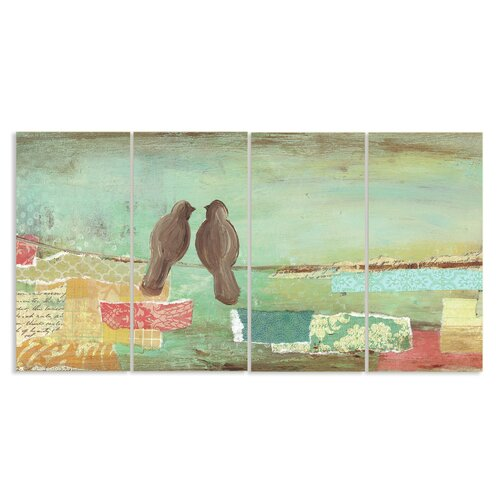Home Décor Pastel Birds on Wire Triptych 4 Piece Painting Print on Wooden Plaques Set ...
