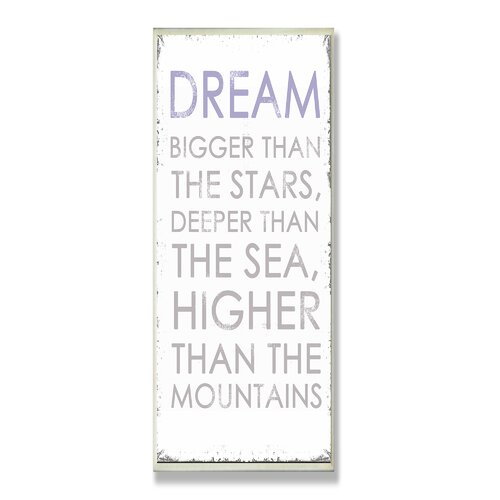 Home Décor Dream Bigger Inspirational Typography Textual Art Plaque