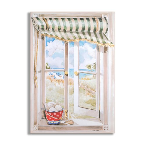 Stupell Industries Seascape Wooden Faux Window Scene Painting Print Plaque