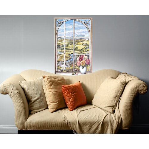 Stupell Industries Iron and Cabbage Rose Wooden Faux Window Scene Painting Print Plaque