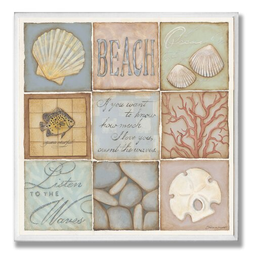 Home Décor Count the Waves Beach 9 Patch Graphic Art Plaque