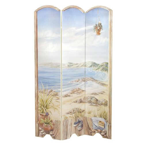 "Stupell Industries 72"" x 48"" Beach Scene 3 Panel Room Divider"
