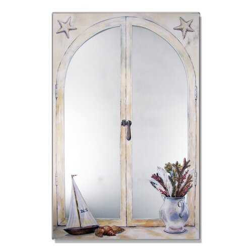Faux Window Mirror Screen with Sailboat and Vase of Feathers Painting Print