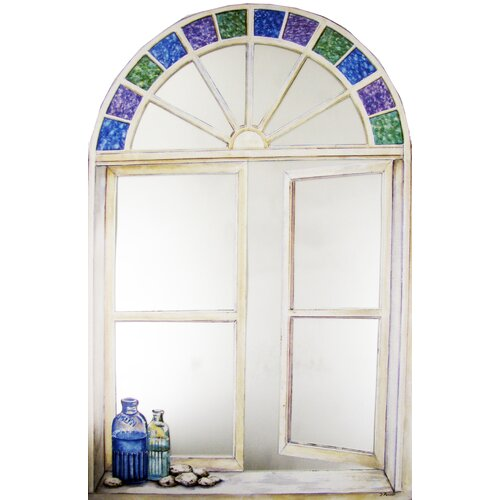 Stupell Industries Faux Window Mirror Screen with Bottles and Stain Glass Painting Print