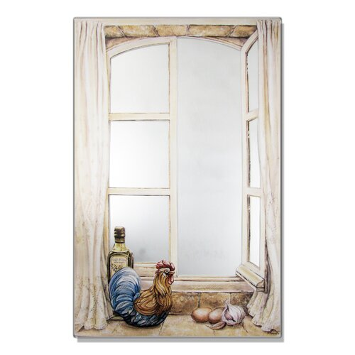 Faux Window Mirror Screen with Rooster and Oil Painting Print