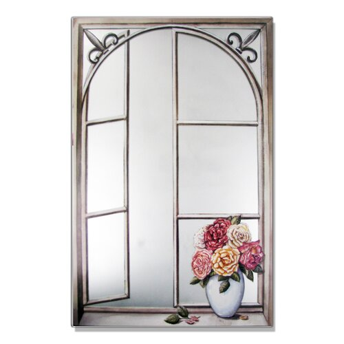 Faux Window Mirror Screen with Wrought Iron and Cabbage Rose Painting Print