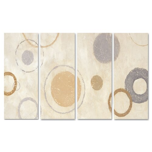 Stupell Industries Home Décor Aqua Circle Quadtych 4 Piece Painting Print Set