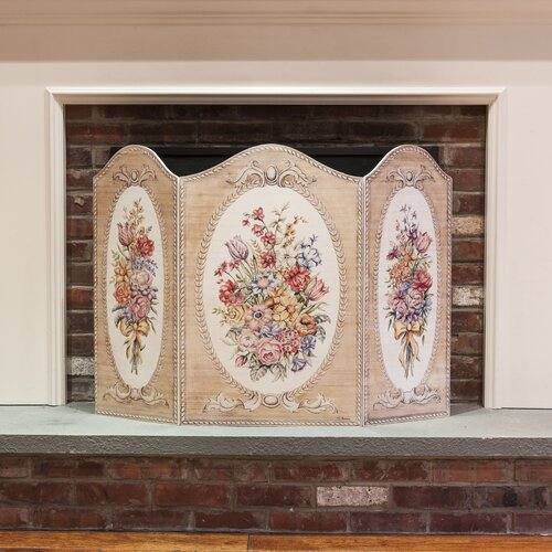 Tapestry and Floral 3 Panel MDF Fireplace Screen