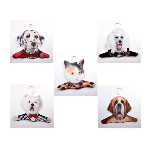 Stupell Industries Animal Dalmation / Poodle / Calico Cat / Westie / St. Bernard Clothing Hanger