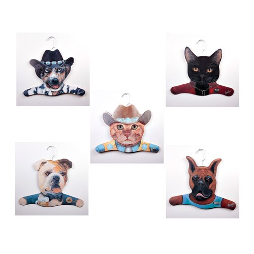 Stupell Industries Animal Cowboy Dog / Cowboy Cat / Bull Dog / Boxer / Black Cat Clothing Hanger