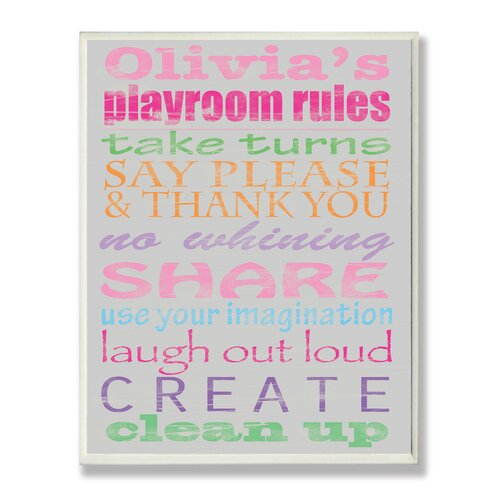 Stupell Industries Kids Room Personalization Girl's Typography Playroom Rules Wall Plaque