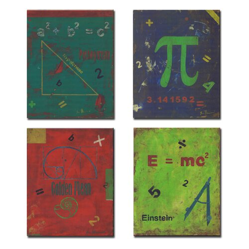Kids Room Distressed Math Symbols Wall Plaques (Set of 4)