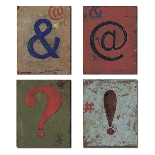 Stupell Industries 4 Piece Kids Room Distressed Punctuation Wall Plaques