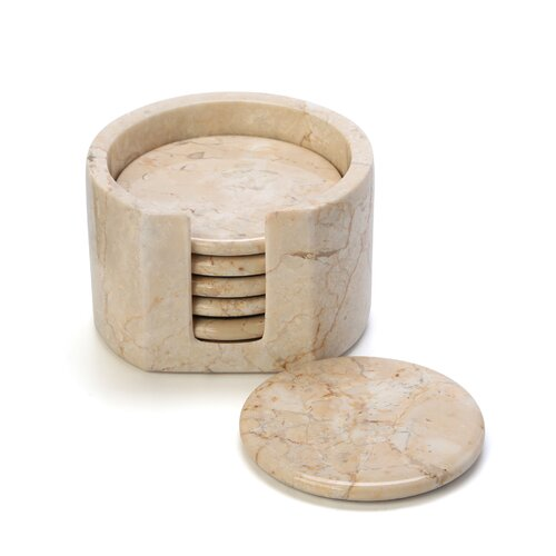 Creative Home The Byzantine 7 Piece Marble Coaster Set in Champagne