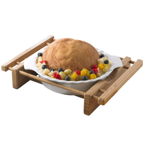 "Creative Home Bamboo and Stoneware Grand Buffet 10"" Pie Pan Bakeware Dish with Bamboo Cradle"