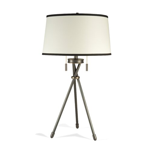 "Lighting Enterprises Tripod 30"" H Table Lamp with Hardback Fold Shade"