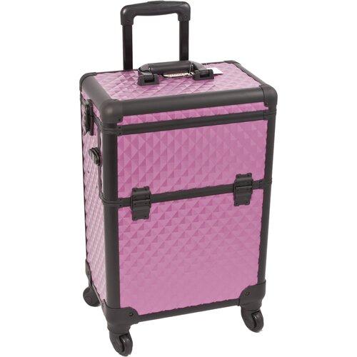 Sunrise Cases Diamond Pattern Interchangeable Professional Rolling Cosmetic Makeup Train Case