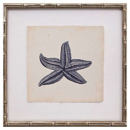 Mini Indigo Starfish IV Framed Graphic Art