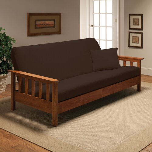 Madison Home Stretch Jersey Full Futon Cover in Brown