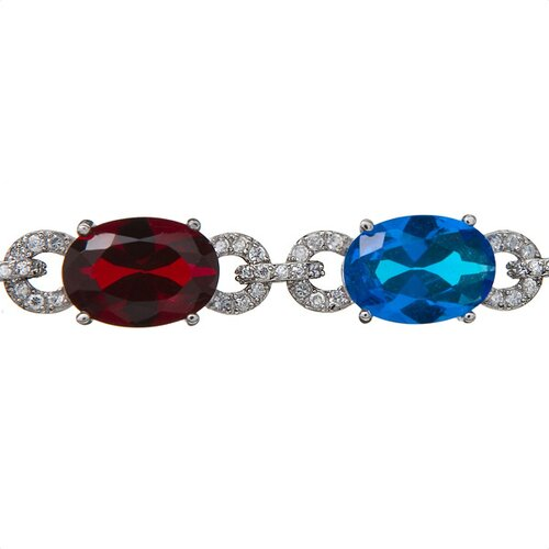 Rozzato Big Oval Multicolor Link Rhodium (.925) Sterling Silver Bracelet