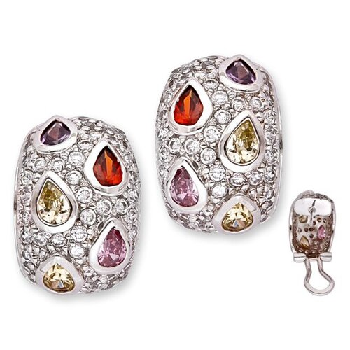 With Big Tear Shape Colored Stones Set Into A Dome Earrings