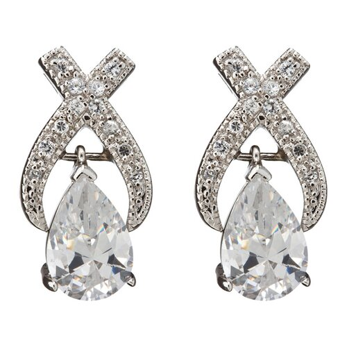 cubic zirconia Pear-Shaped Diamond X Silver Bridal Earrings