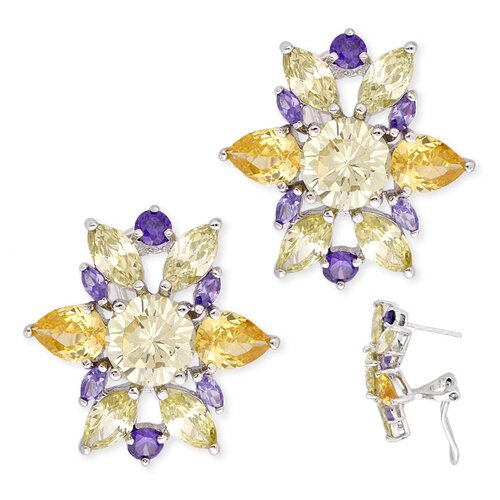 Rozzato Multi-Gemstone Flower Cluster Earrings Costume Jewelry