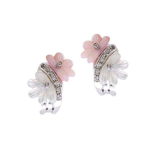 Rozzato Pink White Mother-of-Pearl Flower Clip with Post Earrings
