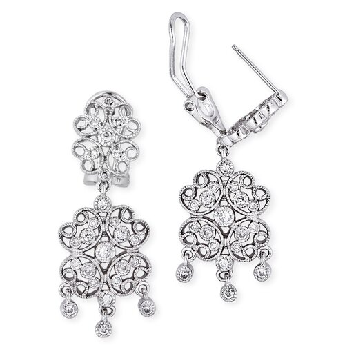 Lacy Four-Petal Flower Design Diamond Drop Earrings