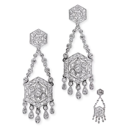 Vintage Diamond Sterling Silver Chandelier Earrings