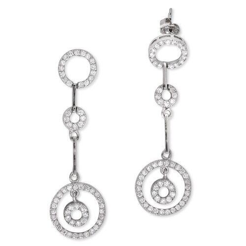 Rozzato Round Circle Dangling Rhodium Pleated Earrings