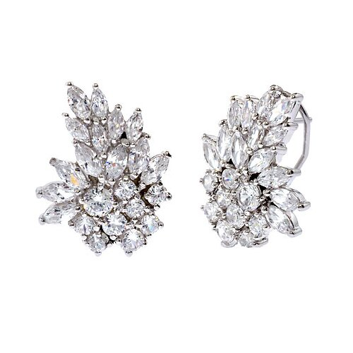 Rozzato Marquise Round Diamond Silver Cluster Earrings