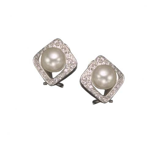 cubic zirconia and Cultured Pearl Sterling Silver Earrings